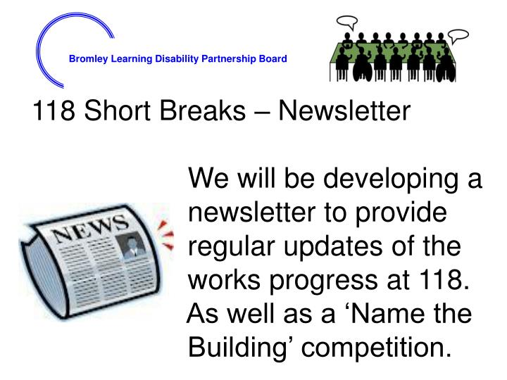 118 Short Breaks – Newsletter