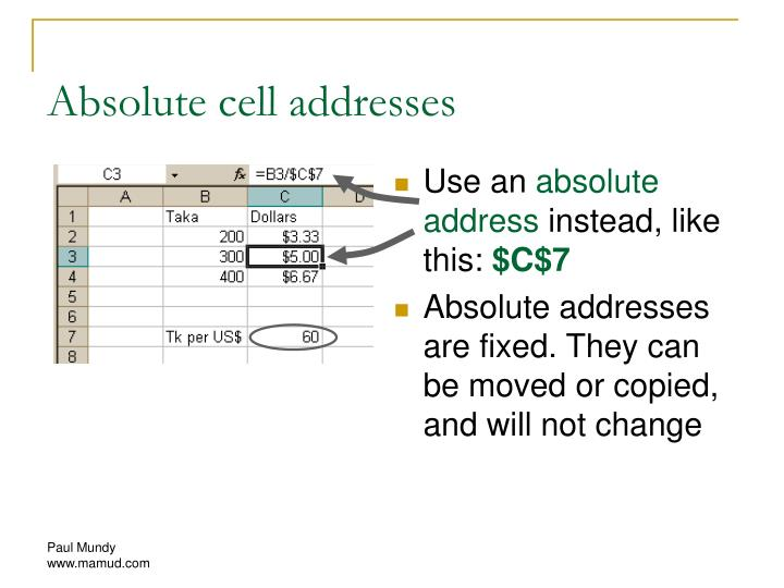 Absolute cell addresses