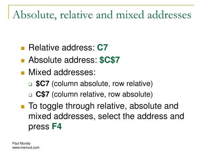 Absolute, relative and mixed addresses
