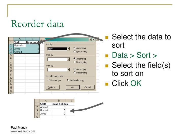Reorder data