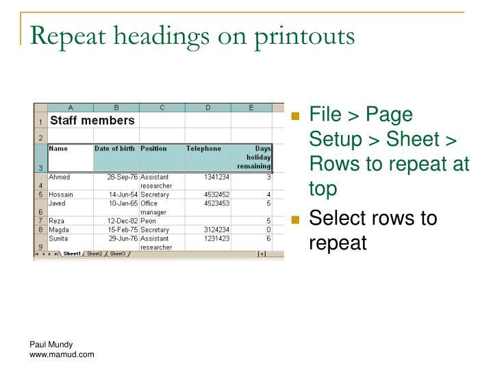 Repeat headings on printouts