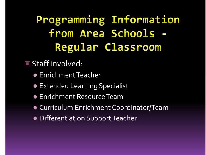Programming Information from Area Schools -