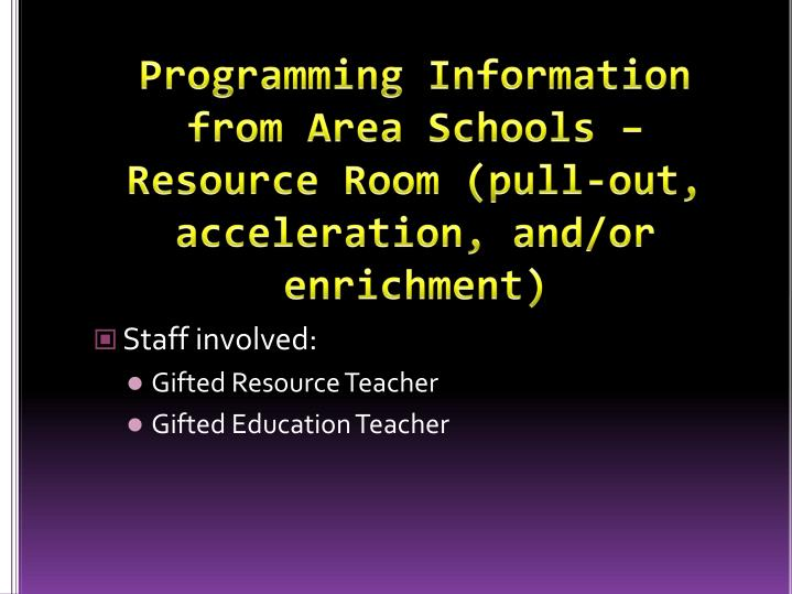 Programming Information from Area Schools – Resource Room (pull-out, acceleration, and/or enrichment)