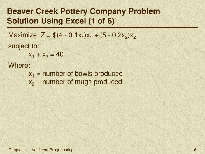 Beaver Creek Pottery Company Problem