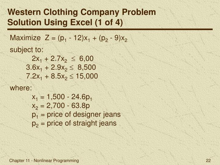 Western Clothing Company Problem