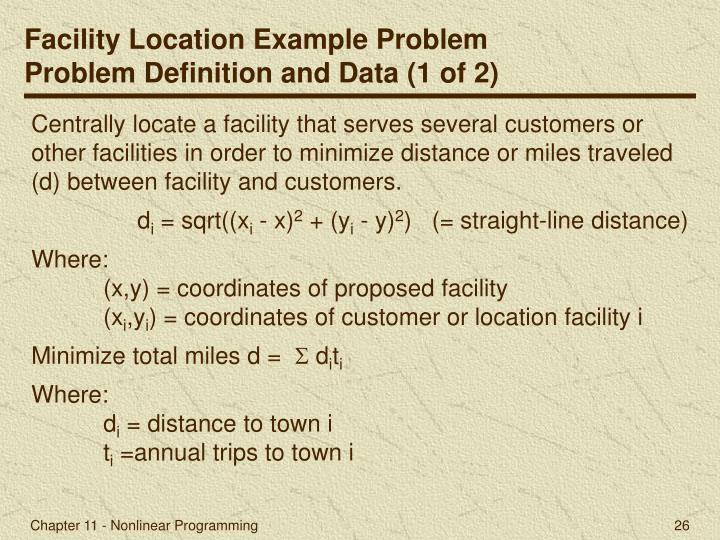 Facility Location Example Problem