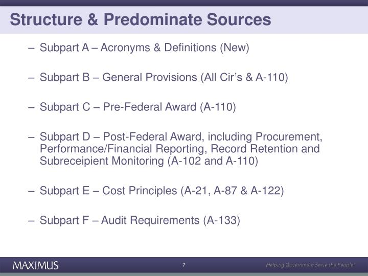 Structure & Predominate Sources