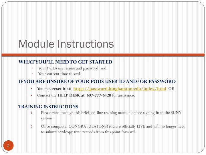 Module Instructions