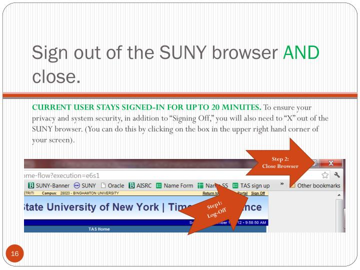 Sign out of the SUNY browser