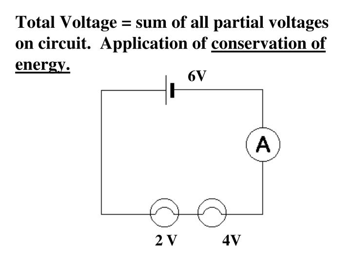 Total Voltage = sum of all partial voltages on circuit.  Application of