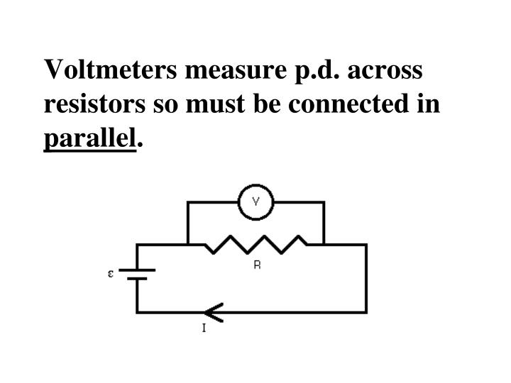 Voltmeters measure p.d. across resistors so must be connected in