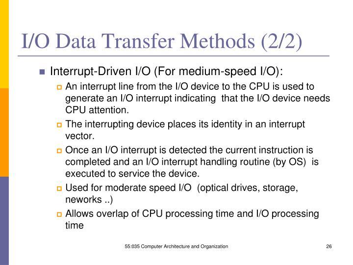 I/O Data Transfer Methods (2/2)