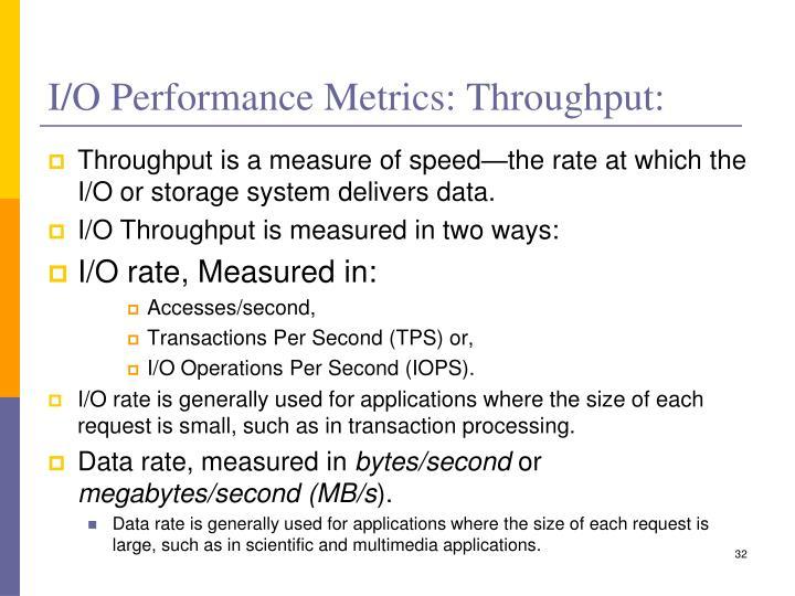 I/O Performance Metrics: Throughput:
