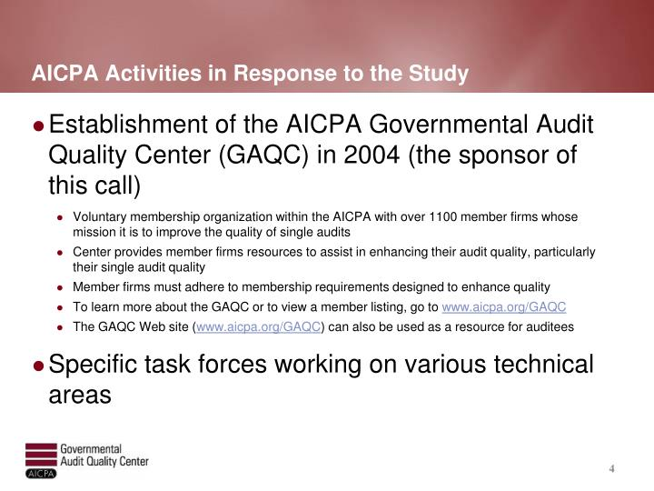 AICPA Activities in Response to the Study