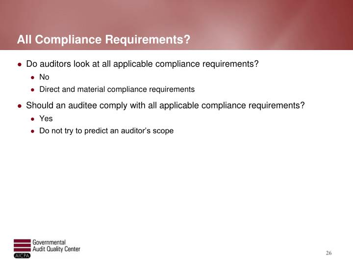 All Compliance Requirements?