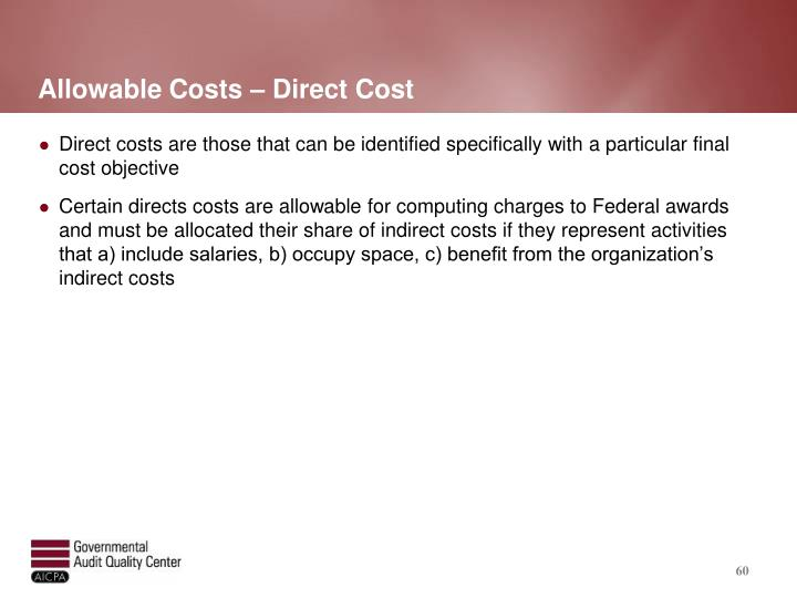 Allowable Costs – Direct Cost