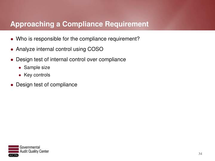 Approaching a Compliance Requirement
