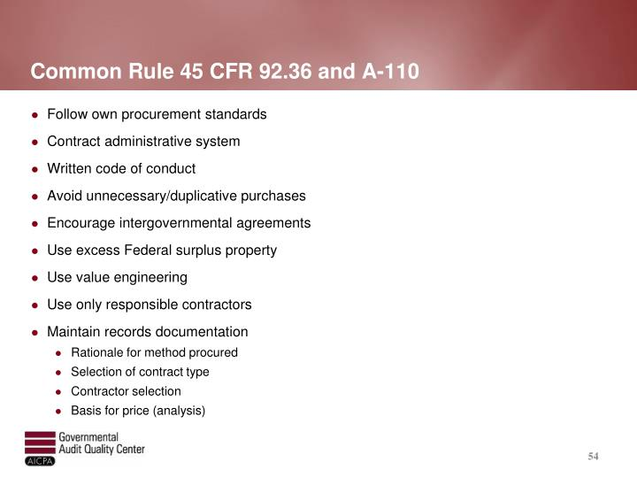 Common Rule 45 CFR 92.36 and A-110