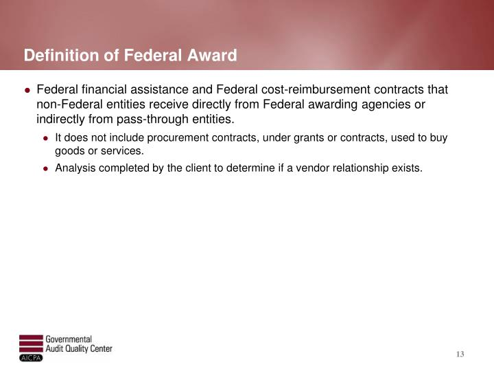 Definition of Federal Award