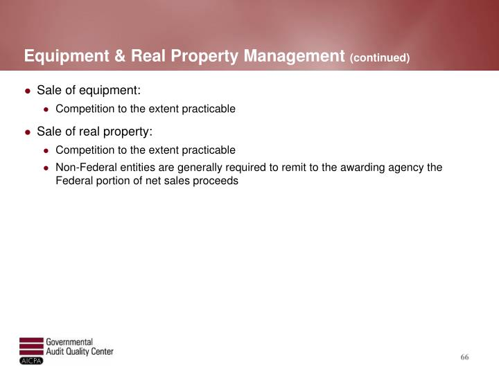 Equipment & Real Property Management