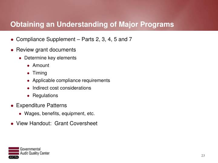 Obtaining an Understanding of Major Programs