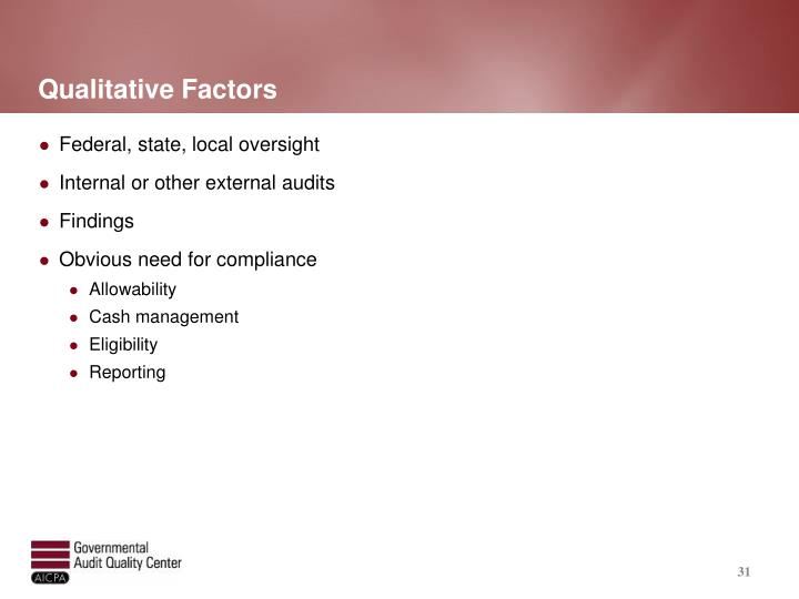 Qualitative Factors