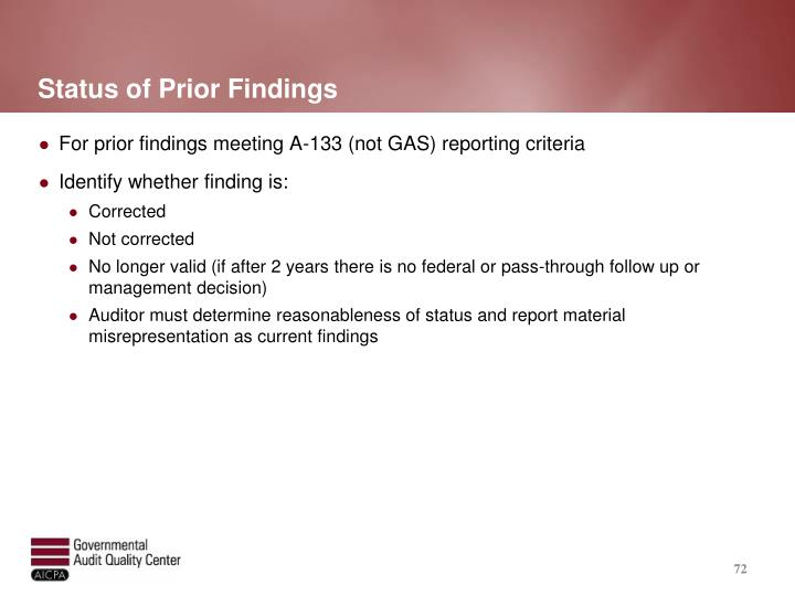 Status of Prior Findings