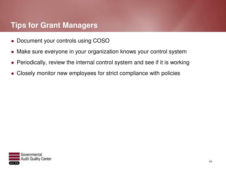 Tips for Grant Managers