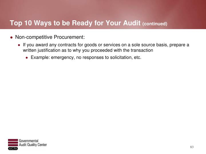 Top 10 Ways to be Ready for Your Audit