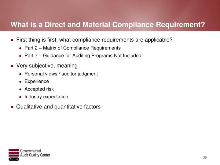 What is a Direct and Material Compliance Requirement?