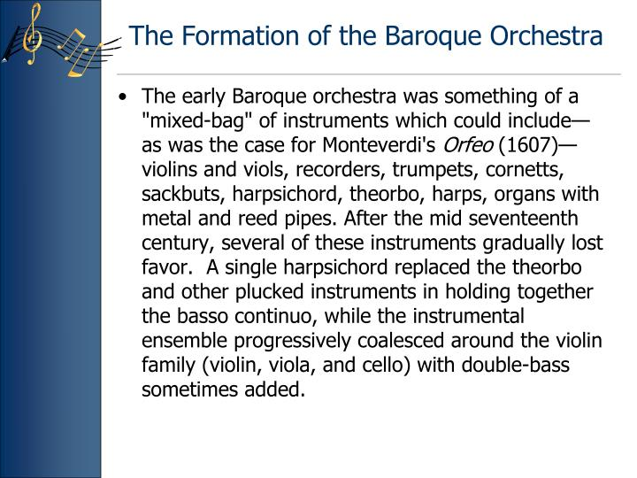 The Formation of the Baroque Orchestra