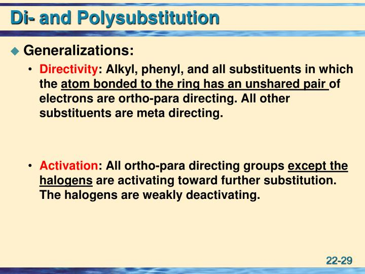 Di- and Polysubstitution