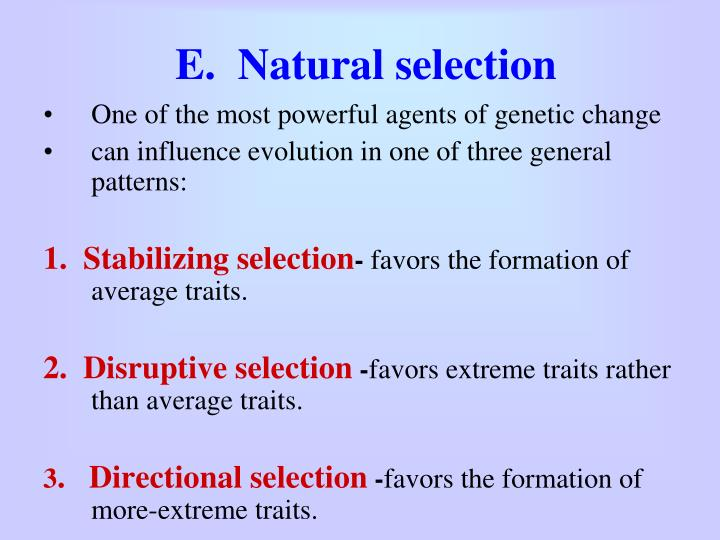 E.  Natural selection