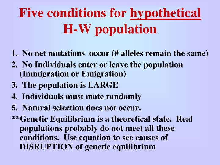 Five conditions for