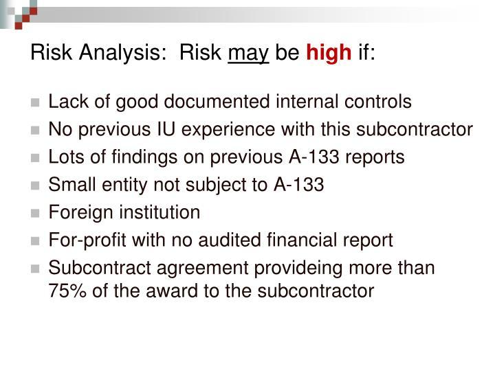 Risk Analysis:  Risk