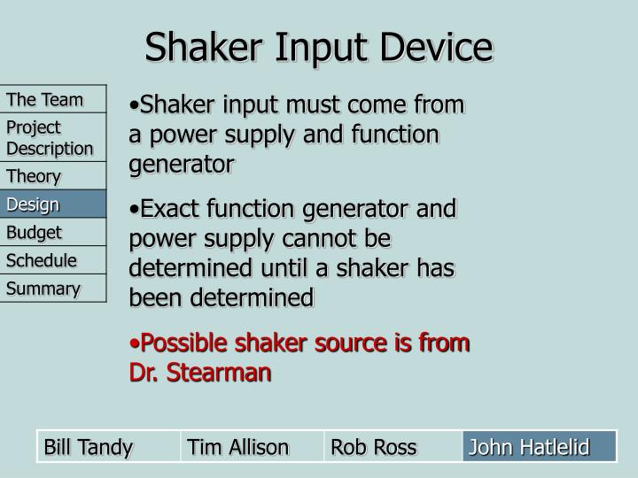 Shaker Input Device