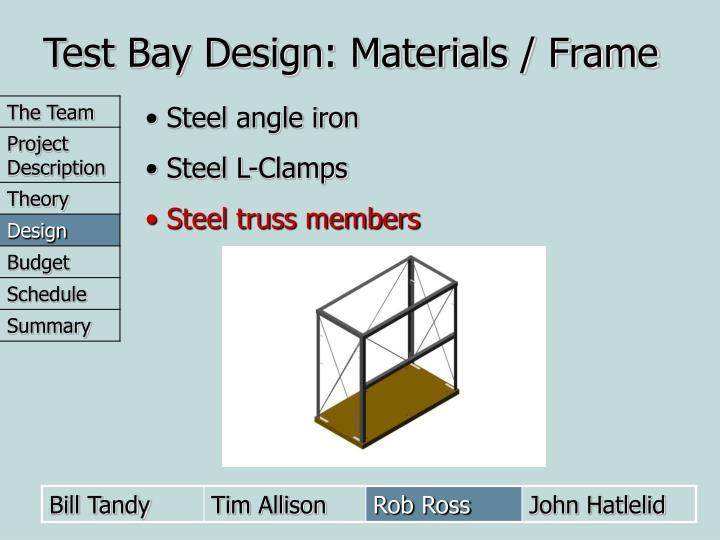 Test Bay Design: Materials / Frame