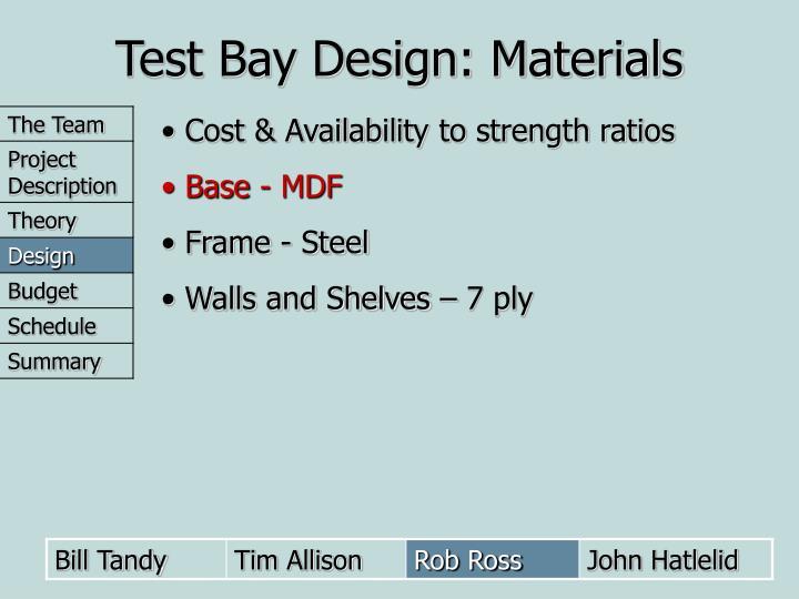 Test Bay Design: Materials