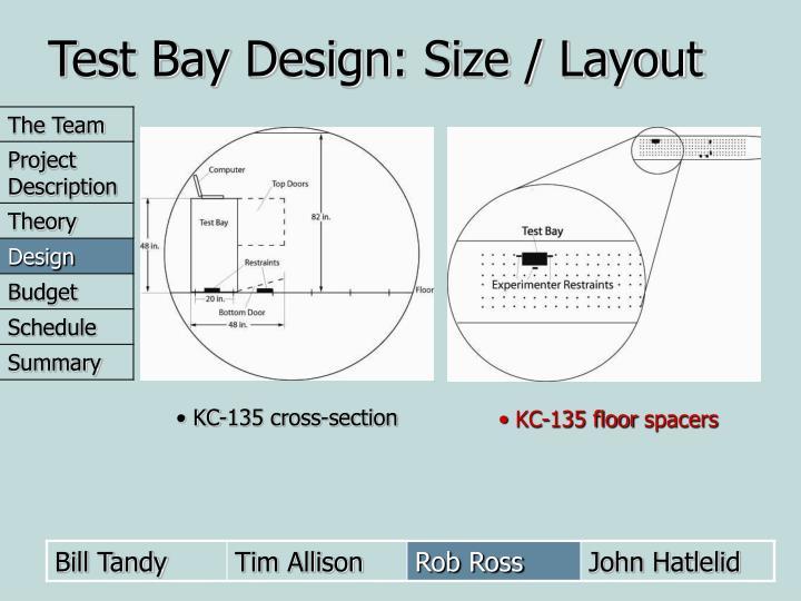 Test Bay Design: Size / Layout