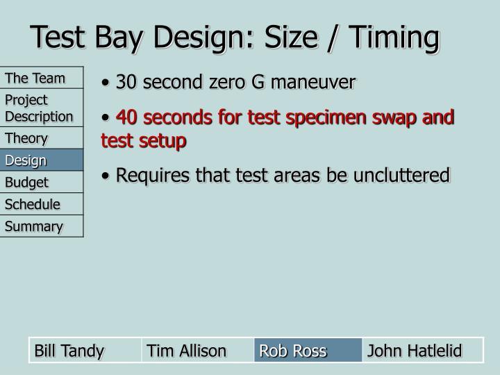 Test Bay Design: Size / Timing
