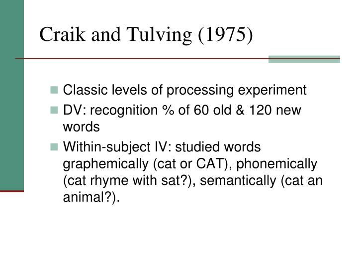 Craik and Tulving (1975)