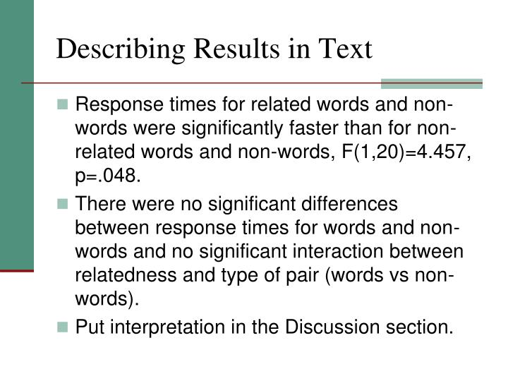 Describing Results in Text
