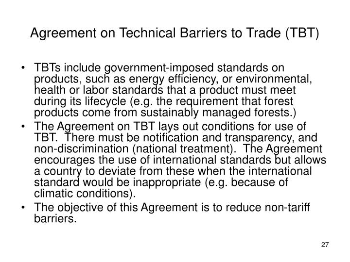 Agreement on Technical Barriers to Trade (TBT)