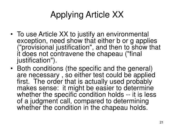 Applying Article XX