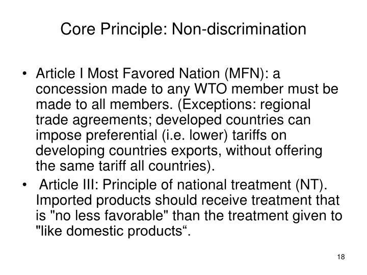 Core Principle: Non-discrimination
