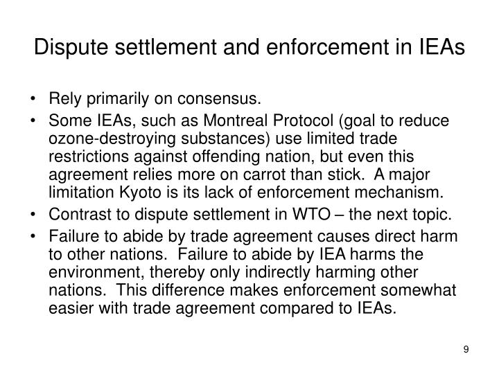 Dispute settlement and enforcement in IEAs