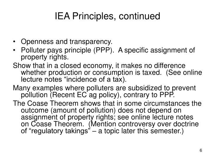 IEA Principles, continued