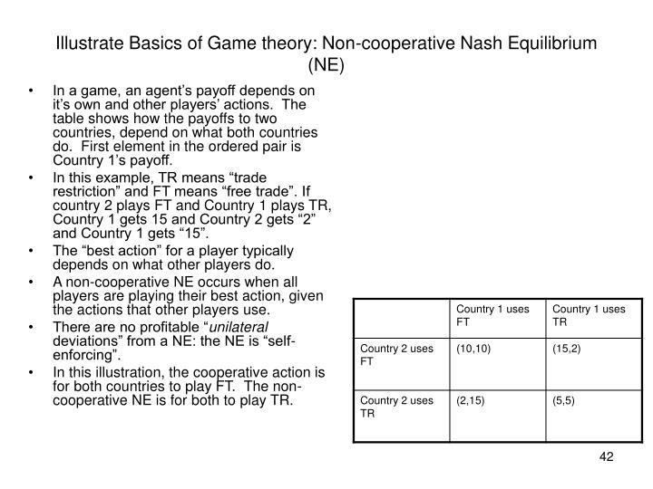 Illustrate Basics of Game theory: Non-cooperative Nash Equilibrium (NE)