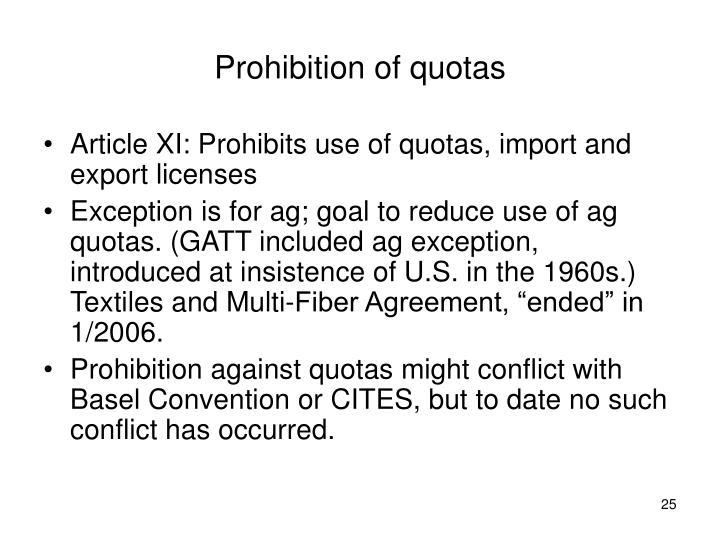 Prohibition of quotas