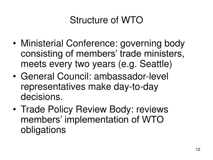 Structure of WTO